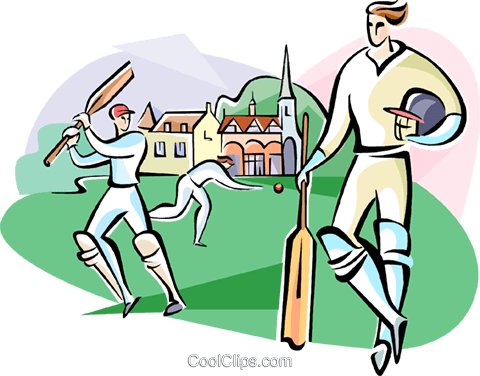 Cricket players Royalty Free Vector Clip Art illustration vc111032