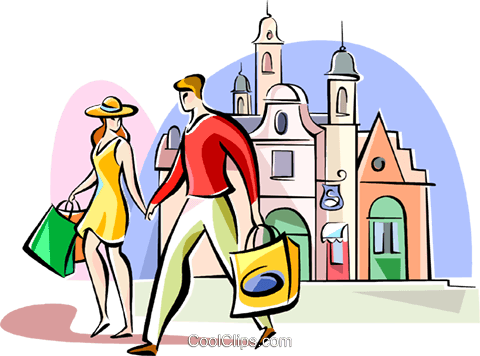 couple shopping in London Royalty Free Vector Clip Art illustration vc111033