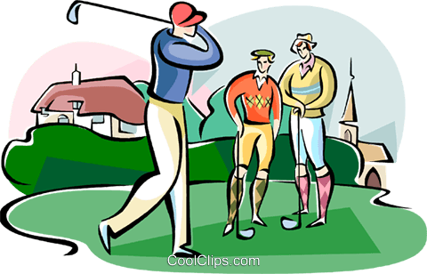 golfer teeing off Royalty Free Vector Clip Art illustration vc111036