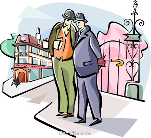 Englishmen having a conversation Royalty Free Vector Clip Art illustration vc111037
