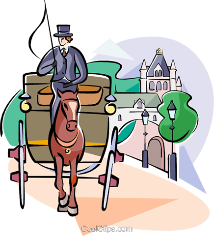horse and buggy Royalty Free Vector Clip Art illustration vc111039