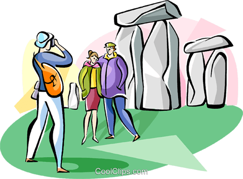 Tourist at Stonehenge Royalty Free Vector Clip Art illustration vc111040