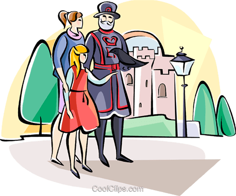 Tourists with Beefeater guard Royalty Free Vector Clip Art illustration vc111042