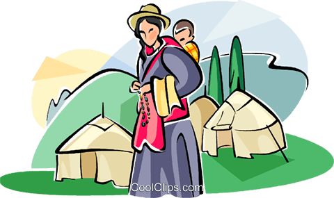Tibetan people woman with her baby Royalty Free Vector Clip Art illustration vc111047