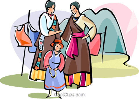 Tibetan family Royalty Free Vector Clip Art illustration vc111048