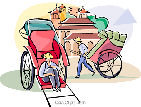 rickshaw drivers waiting for a fair Royalty Free Vector Clip Art illustration vc111050