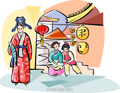 Traditional Chinese costumes Royalty Free Vector Clip Art illustration vc111052