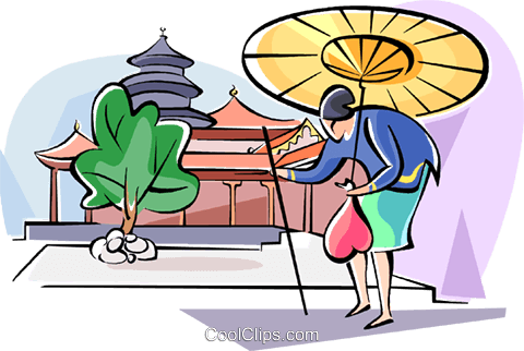 Japanese woman walking with her umbrella Royalty Free Vector Clip Art illustration vc111053