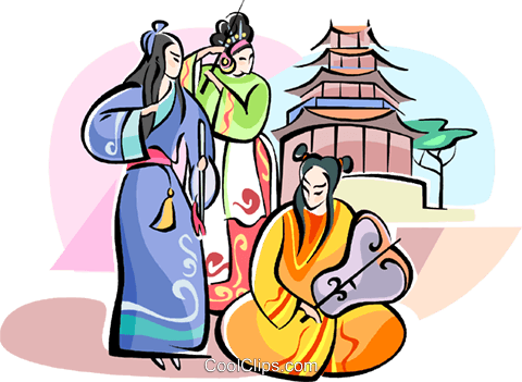 Chinese musicians in traditional costumes Royalty Free Vector Clip Art illustration vc111054
