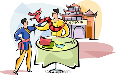 Chinese father teaching his son a Royalty Free Vector Clip Art illustration vc111058