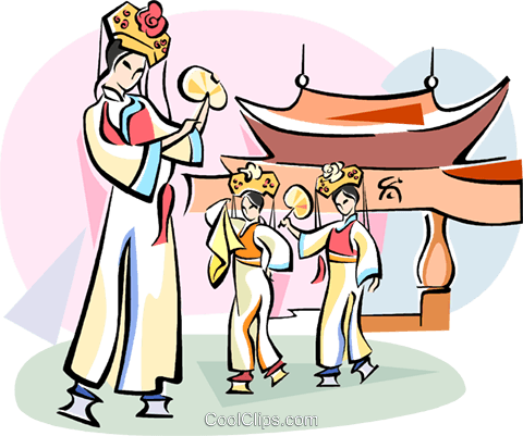 Chinese traditional dance Royalty Free Vector Clip Art illustration vc111059