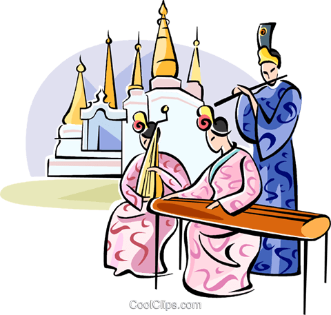 Chinese musicians Royalty Free Vector Clip Art illustration vc111060