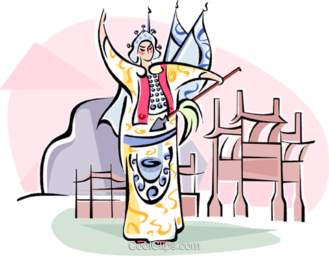traditional Chinese dance Royalty Free Vector Clip Art illustration vc111061