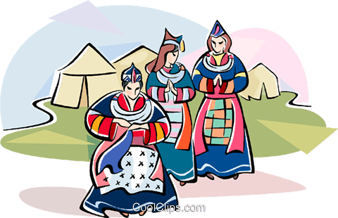 Tibetan women in typical costumes Royalty Free Vector Clip Art illustration vc111062