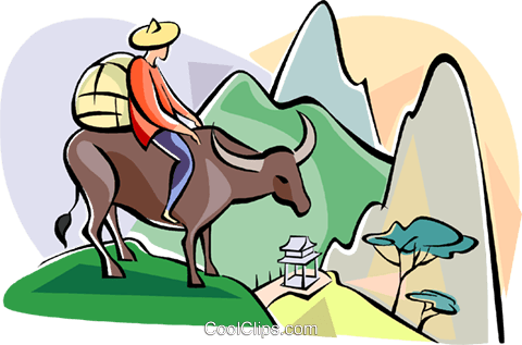 water buffalo crossing mountains Royalty Free Vector Clip Art illustration vc111065