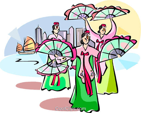 dancing women with fans Royalty Free Vector Clip Art illustration vc111068