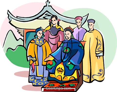 the emperor and his family Royalty Free Vector Clip Art illustration vc111070