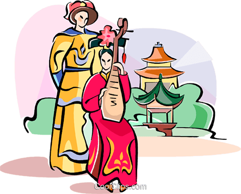 playing on Chinese musical instrument Royalty Free Vector Clip Art illustration vc111071