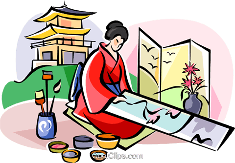 Japanese artist Royalty Free Vector Clip Art illustration vc111072