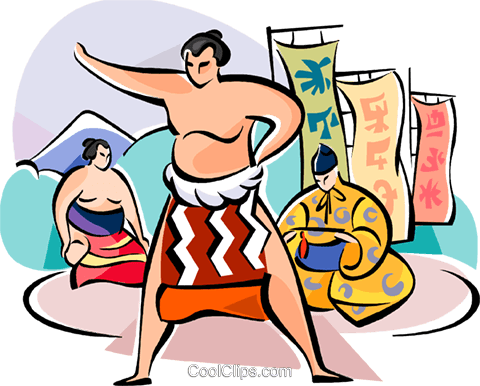 Japanese sumo wrestler Royalty Free Vector Clip Art illustration vc111074