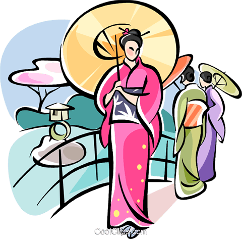 Japanese woman walking Royalty Free Vector Clip Art illustration vc111076