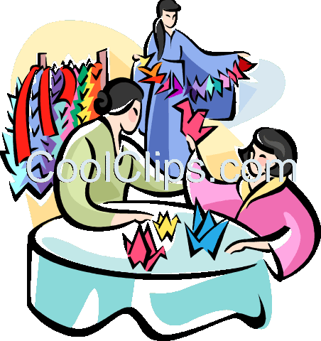 Japanese women making origami Royalty Free Vector Clip Art illustration vc111077