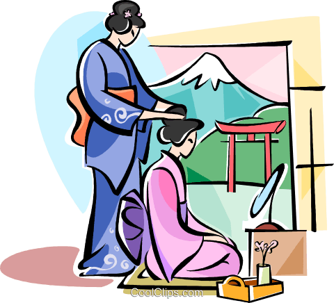 Japanese girls preparing for the day Royalty Free Vector Clip Art illustration vc111079