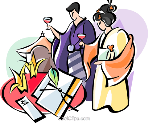 Japanese wedding ceremony Royalty Free Vector Clip Art illustration vc111080