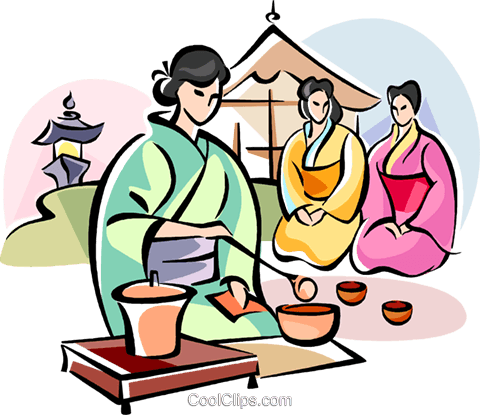 Japanese girl serving tea Royalty Free Vector Clip Art illustration vc111081