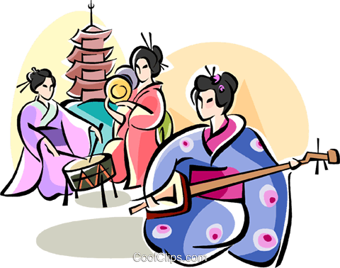 Japanese musicians Royalty Free Vector Clip Art illustration vc111082