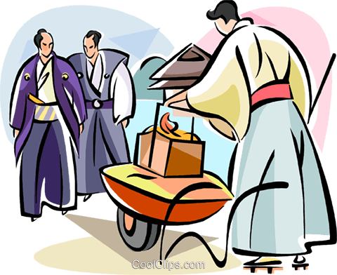 Japanese men in garden Royalty Free Vector Clip Art illustration vc111084