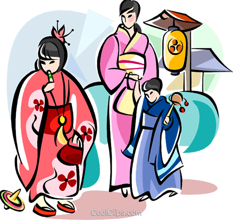 Japanese mother and children Royalty Free Vector Clip Art illustration vc111085