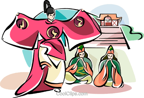 Japanese dancers with pagoda Royalty Free Vector Clip Art illustration vc111087