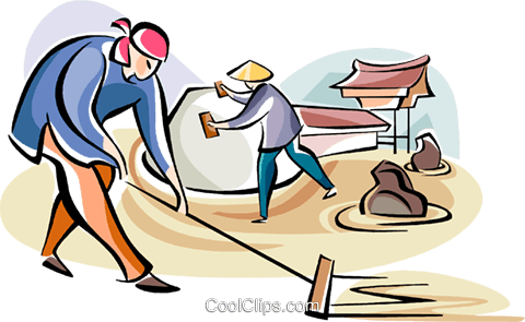 Japanese laborers Royalty Free Vector Clip Art illustration vc111089