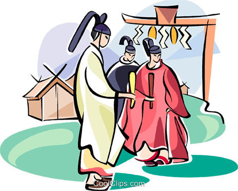 Shinto monks Royalty Free Vector Clip Art illustration vc111091
