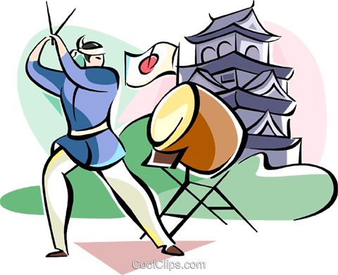 Japanese Drummer musician Royalty Free Vector Clip Art illustration vc111093