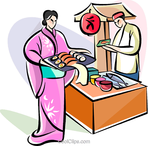 geisha girl with a tray of sushi Royalty Free Vector Clip Art illustration vc111094