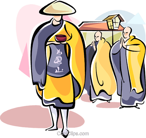 Japanese monks Royalty Free Vector Clip Art illustration vc111095