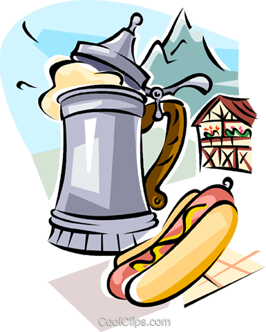 German beer and wurst sausage Royalty Free Vector Clip Art illustration vc111097