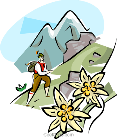 Hiking in the Alps Royalty Free Vector Clip Art illustration vc111098