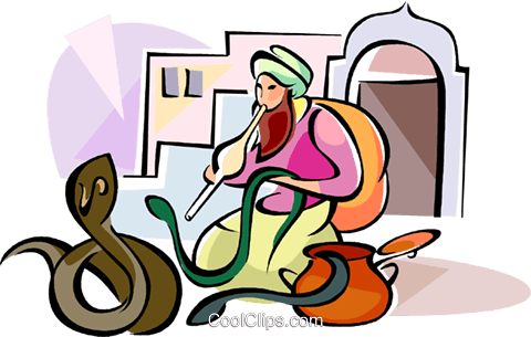 Indian Snake Charmer Royalty Free Vector Clip Art illustration vc111100