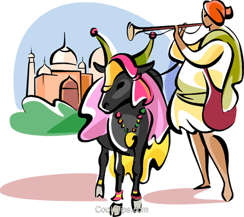 Sacred cow in front of Taj Mahal Royalty Free Vector Clip Art illustration vc111101
