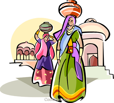Indian Women carrying water Royalty Free Vector Clip Art illustration vc111103