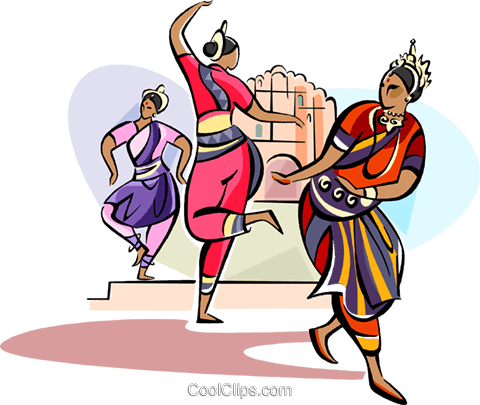 Indian Hindu dancers Royalty Free Vector Clip Art illustration vc111107