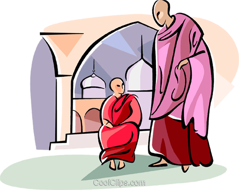 Buddhist monks Royalty Free Vector Clip Art illustration vc111108