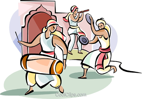 Indian Dancers with drum Royalty Free Vector Clip Art illustration vc111109
