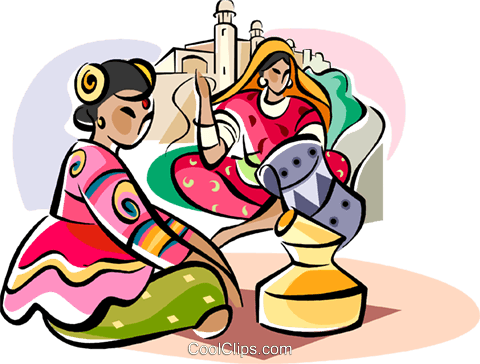 Indian women in traditional dress Royalty Free Vector Clip Art illustration vc111110