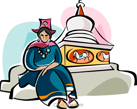 Ladakhi woman in traditional dress Royalty Free Vector Clip Art illustration vc111111