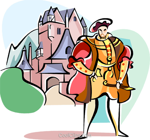 King with Castle Royalty Free Vector Clip Art illustration vc111112