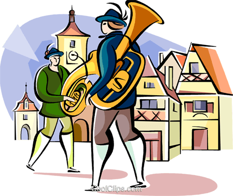 German traditional musicians Royalty Free Vector Clip Art illustration vc111117